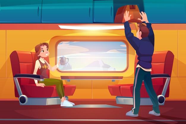Passagers voyageant en voiture de chemin de fer
