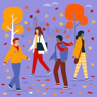 Passants en automne