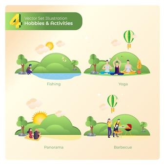 Passe-temps ou activités comme la pêche, le yoga, les panoramas et le barbecue