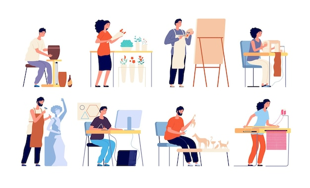 Passe-temps artisanal. artistes créatifs, personnes isolées et processus artisanal. adultes plats, fleuristerie et couture, dessin et ensemble de vecteurs de conception. artisanat d'artiste, illustration à la main femme et homme
