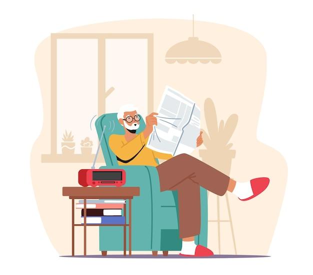 Passe-temps de personnage masculin âgé, temps libre détendu, loisirs en maison de retraite. homme aux cheveux gris senior dans des verres assis dans un fauteuil, lisant le journal et écoutant de la musique à la radio. illustration vectorielle de dessin animé
