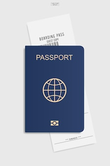 Passeport et billet d'embarquement sur fond blanc. illustration vectorielle.