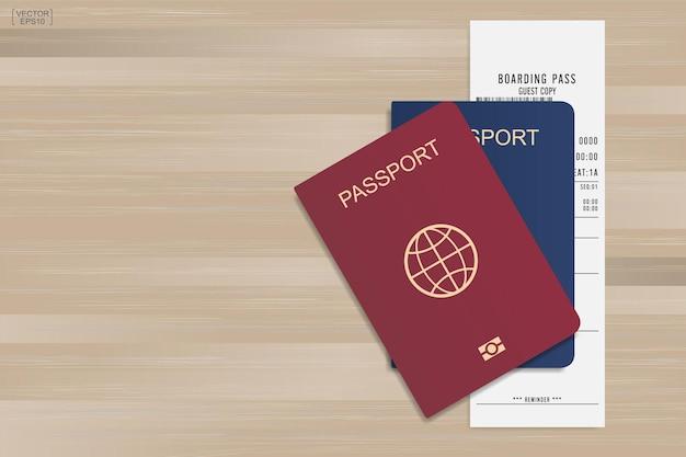 Passeport et billet d'embarquement sur fond de bois. illustration vectorielle.