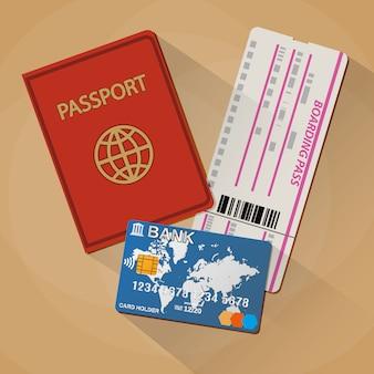 Passeport carte d'embarquement billet carte bancaire