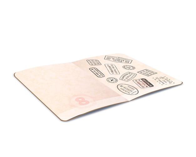 Passeport étranger ouvert avec des timbres d'immigration noirs, document de voyage avec en perspective sur blanc