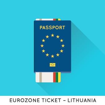 Passeport europe de la zone euro avec billets. billets d'avion avec le drapeau national de l'ue.