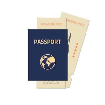 Passeport avec illustration de billets d'avion