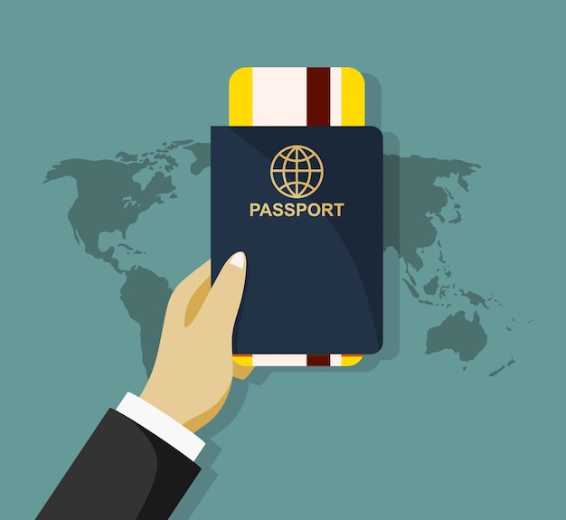 Passeport avec illustration d'icône de billets isolé.