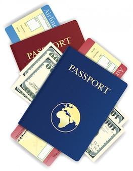 Passeport avec illustration vectorielle d'argent et de billet d'avion