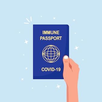 Passeport d'immunité covid-19. document d'immunité contre le coronavirus. certificat de vaccination. passeport international pour les voyages et les affaires pendant la pandémie de coronavirus