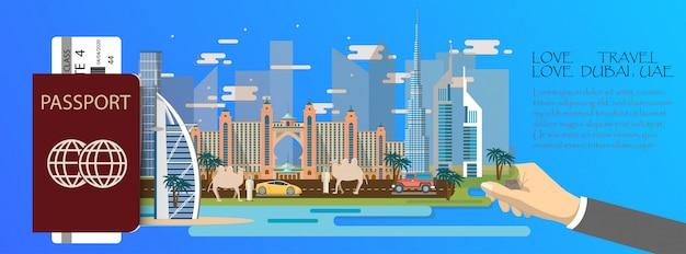 Passeport d'infographie de voyage infographique avec les points de repère de dubaï