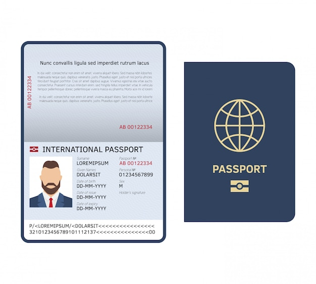 Passeport ouvert. document d'identité modèle de passeport international de page de photo masculine