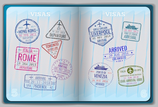 Passeport ouvert pour les voyages à l'étranger