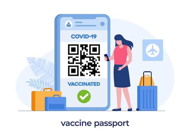 Passeport de vaccin pour voyage, vaccination, certificat, nouvelle norme, passeport d'immunité, vecteur d'illustration plat