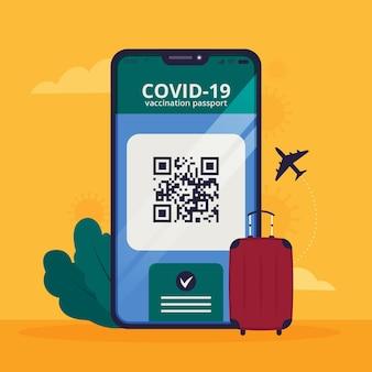 Passeport de vaccination design plat pour voyager