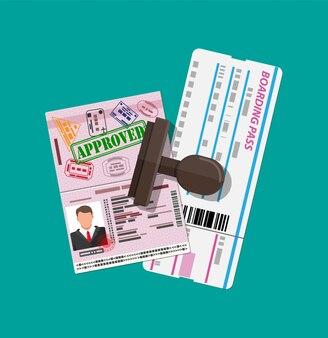 Passeport avec visas, carte d'embarquement