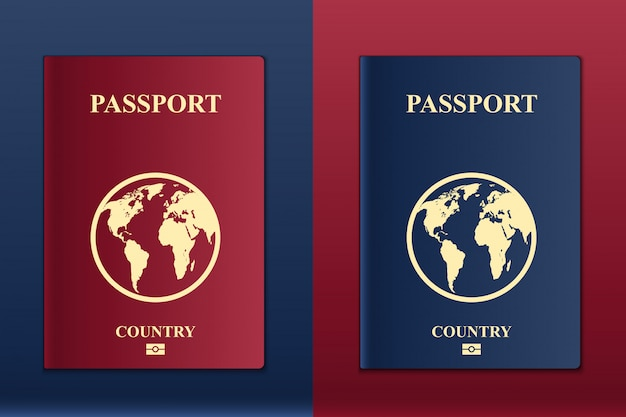 Passeports avec carte du globe, document d'identification.