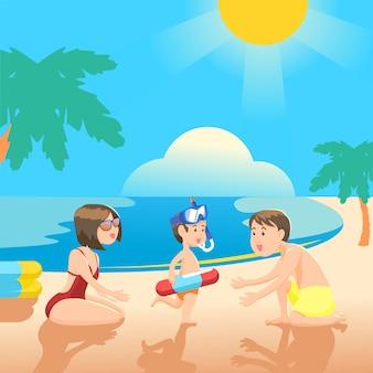 Passer du temps en famille jouant sur la plage d'été.