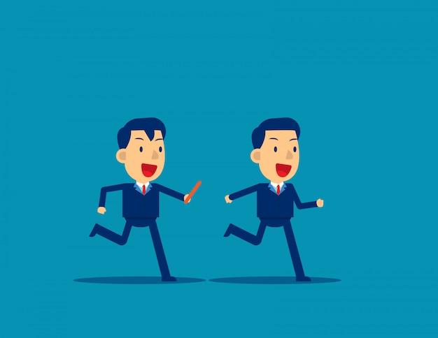 Passer le témoin à un collègue en course à relais