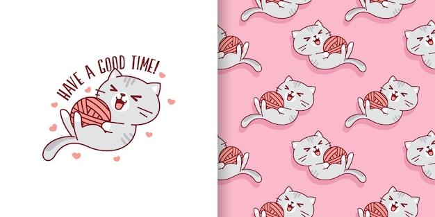 Passez un bon moment chat jouant un modèle sans couture de boule de fil