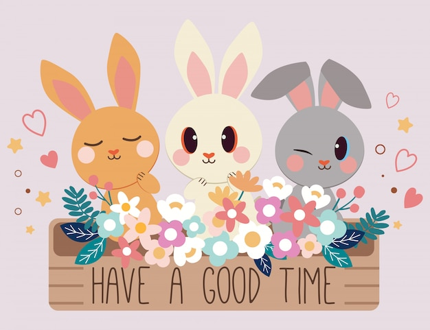 Passez un bon moment, voeux de souhaits avec des personnages de lapin mignon assis devant le grand pot de fleurs ont une fleur