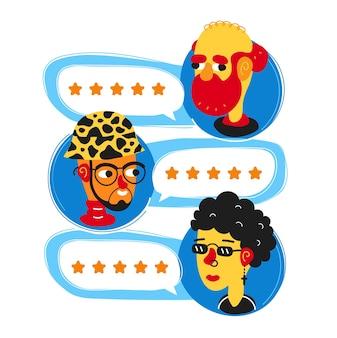 Passez en revue les discours des bulles d'évaluation et les avatars des personnes. conception d'icône d'avatar d'illustration de personnage de dessin animé de style plat simple. concept de décision, bon système de notation des gens, avis étoiles concept d'application de taux