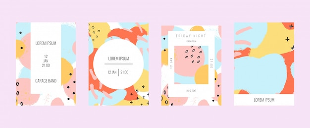 Pastel affiches de formes et de griffonnages.