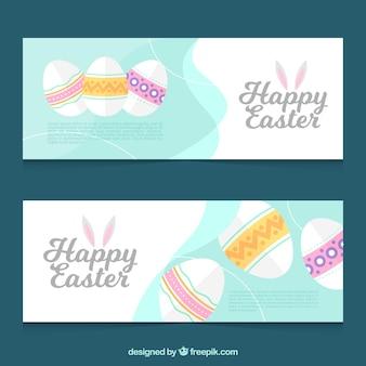 Pastel coloré bannières d'oeufs de pâques
