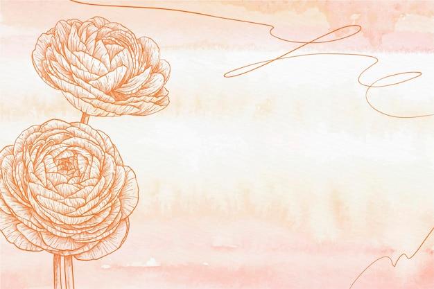 Pastel de poudre orange fond dessiné à la main