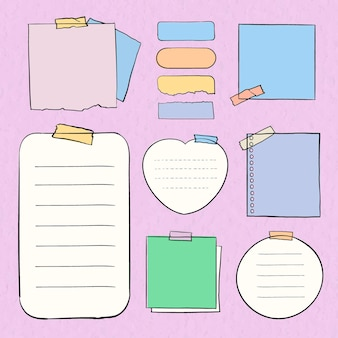 Pastel de vecteur de note numérique défini dans un style dessiné à la main