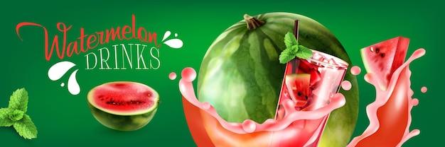 La pastèque boit une bannière horizontale avec des morceaux rouges et des éclaboussures de jus sur vert réaliste