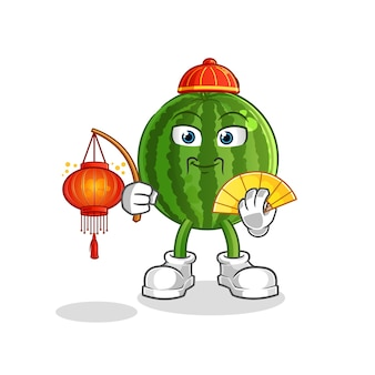 Pastèque chinoise avec mascotte de dessin animé de lanternes