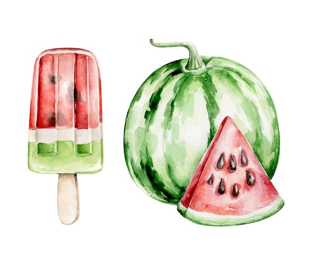 Pastèque et crème glacée dessinés à la main