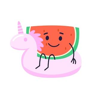 Pastèque dans un anneau de natation rose en forme d'illustration de licorne
