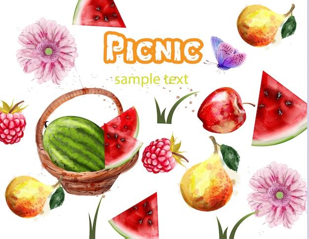 Pastèque, été, modèle, fruits, pique-nique