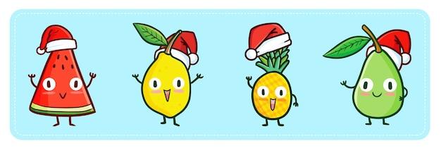 Pastèque kawaii mignon et drôle, citron, ananas et mangue portant le chapeau du père noël pour noël