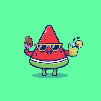 Pastèque mignon tenant la crème glacée et le jus d'orange cartoon vector icon illustration. concept d'icône de fruits d'été isolé vecteur premium. style de dessin animé plat