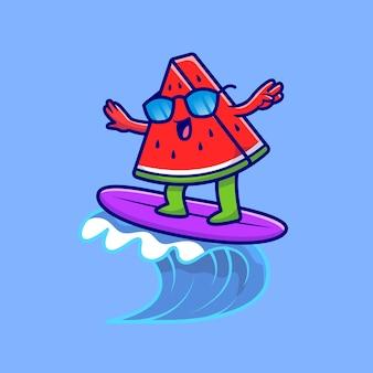 Pastèque mignonne surfant sur l'illustration de l'icône de dessin animé de plage. concept d'icône de nourriture d'été isolé. style de bande dessinée plat