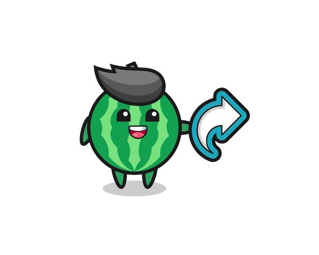 La pastèque mignonne tient le symbole de partage de médias sociaux, conception de style mignon pour t-shirt, autocollant, élément de logo