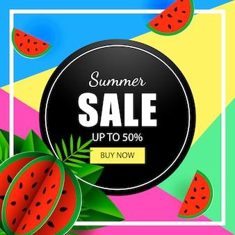 Pastèque de modèle de bannière de vente d'été