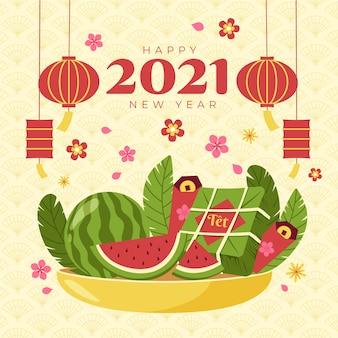 Pastèque de nouvel an vietnamien dessiné à la main