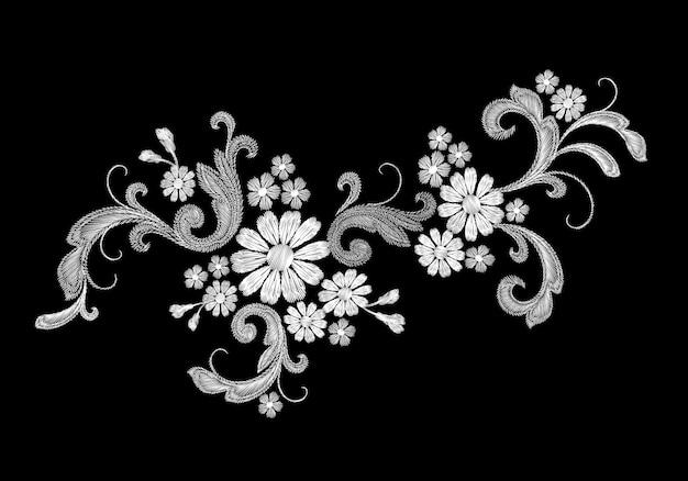 Patch de mode de broderie vecteur blanc réaliste fleur rose marguerite