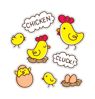 Patch de poulet de dessin animé