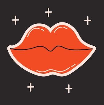 Patch, timbre ou autocollant de visage drôle d'illustrations vectorielles à la mode avec un personnage comique abstrait et mignon.