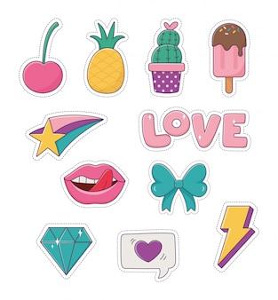 Patches ananas crème glacée cactus arc lèvres diamant amour mode badge autocollant décoration icônes