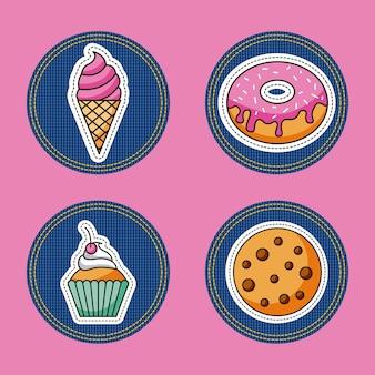 Patches dessert aliments cupcake cookies crème glacée donut