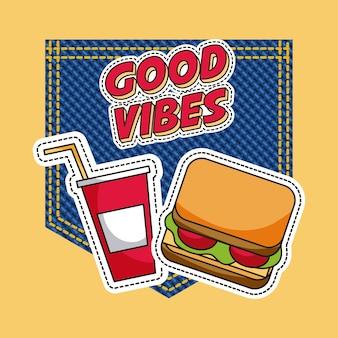 Patchs fast food bonnes vibrations soda sandwich