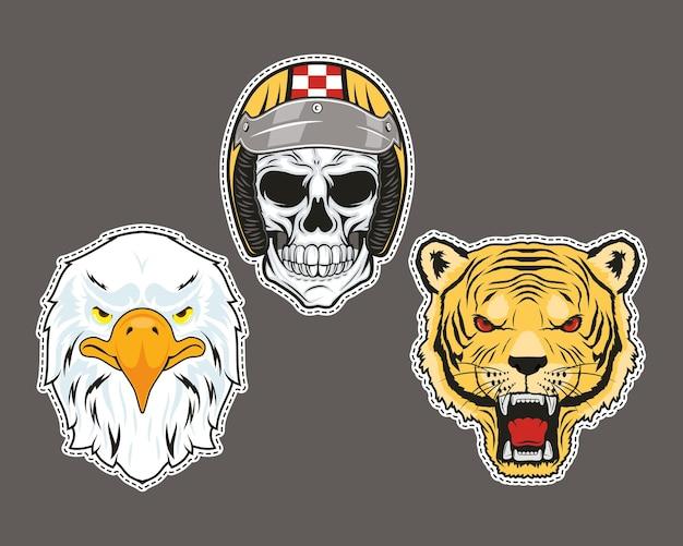 Patchs rétro trois icônes