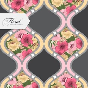 Patchwork abstrait avec des fleurs roses et jaunes