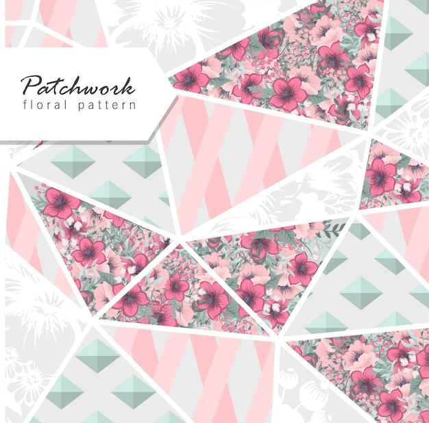 Patchwork abstrait avec des fleurs